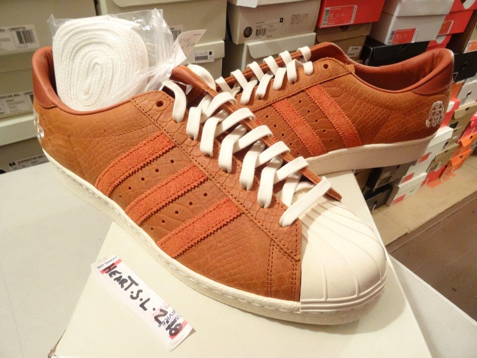 NEW Adidas x Footpatrol Consortium Superstar 80v FP Fox rot Weiß B34078 Sz 12.5