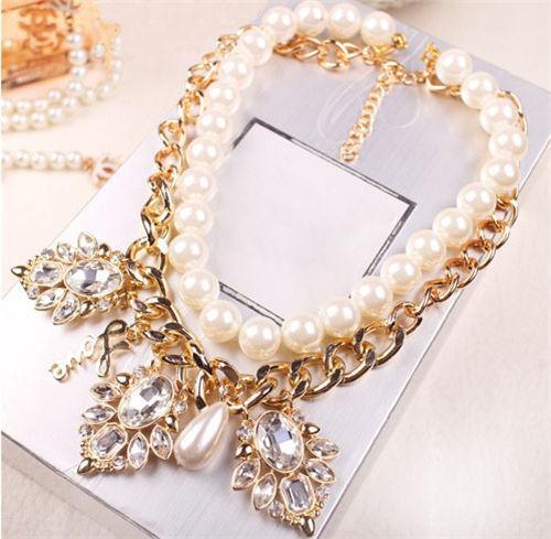 Women Fashion Jewelry Pendant Crystal Chunky Pearl Chain Bib Statement Necklace