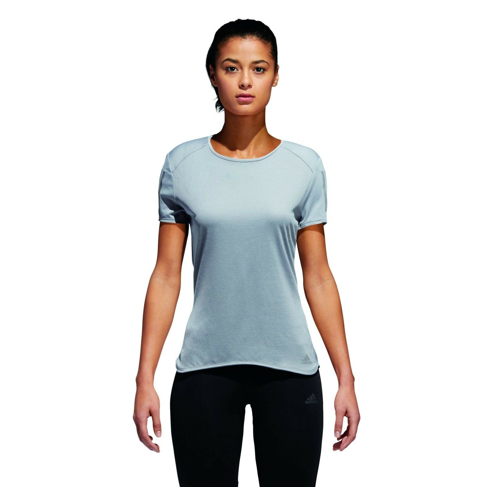 90e56e8f6abaa Adidas Performance Women's Running Shirt Response Sleeve T-Shirt w Grey  Short 3S oswron2794-Activewear Tops