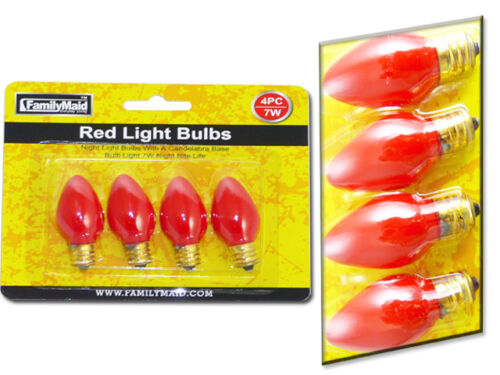 Pack of 4 Small Red Light Bulbs for Festive Events or Decoration