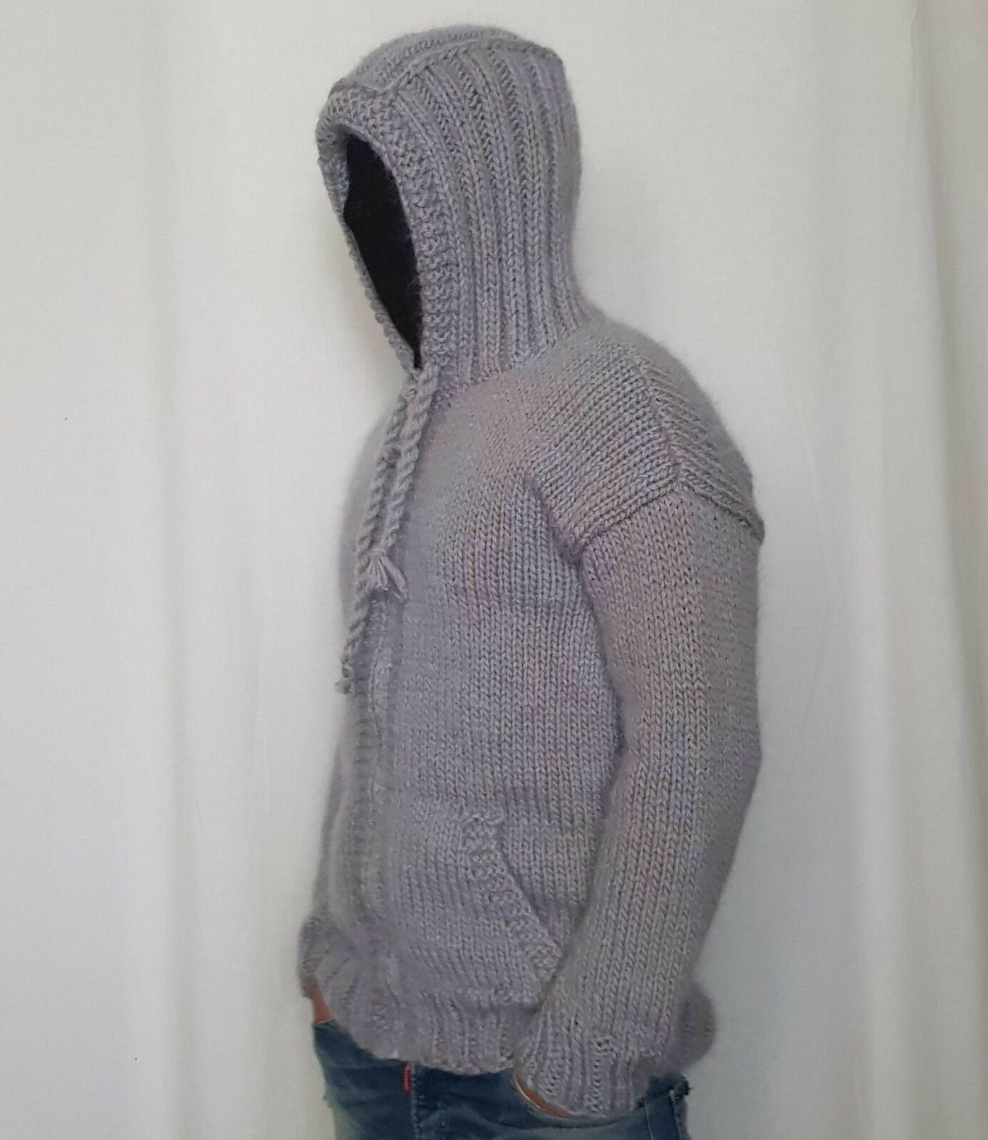 Hand Knitted wolleMOHAIR herren schweißer with zipper & hoodie SOFT fuzzy Jumper