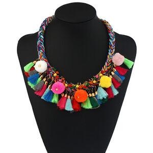 Trendy-Pom-Pom-Multicolor-Tassel-Boho-Statement-Party-Necklace-Women-Jewelry