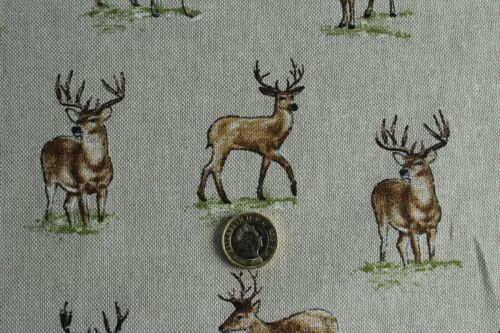 Country Side Animals Mini Prints Linen Look Fabric Curtains Upholstery