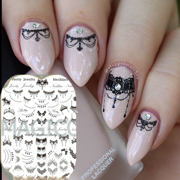3d Nail Art Stickers Tattoos Black Lace Necklace Manicure Decals ...