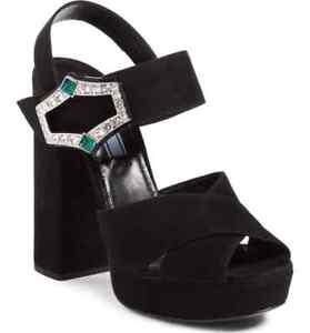 275763278e6 New Prada 130mm Jeweled Buckle Black Suede Platform Sandal Women 38 ...