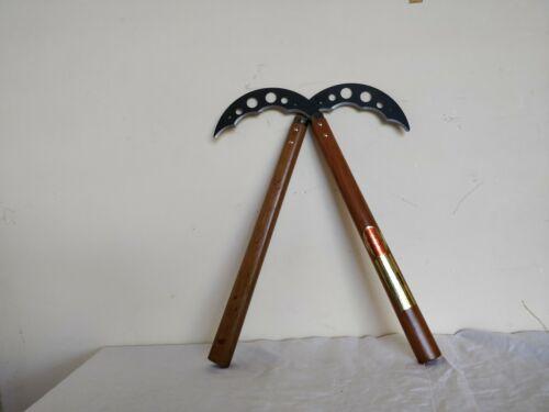 "15/"" handle! Kama Weapon Never Used Wooden Handel With Black Metal Blade"