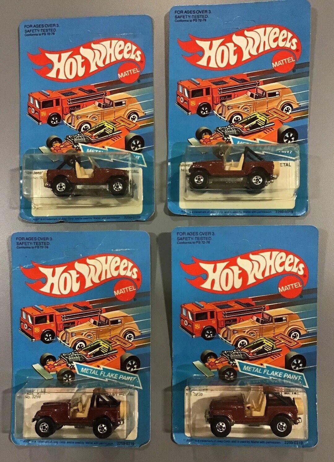 Lote de 4 Hot Wheels 1982 Jeep CJ 7 ENLOMADOR tarjeta sellada  3259 Nuevo en paquete escama de metal