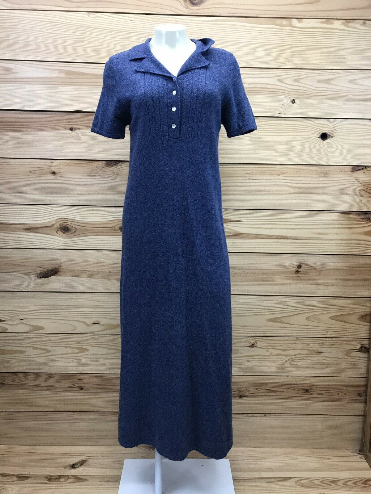 April Cornell Sweater Dress Small Lambswool bluee Short Sleeve Maxi Collared B4