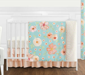 Turquoise-Peach-Chic-Watercolor-Floral-Baby-Girl-Bumperless-Crib-Bedding-Set