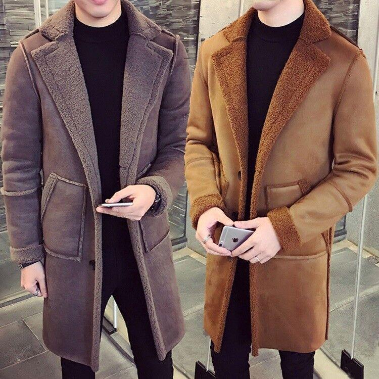 Da Uomo in Pelle di Agnello Pelliccia sintetica con Cotone bavero Cappotto Cotone con Inverno Caldo Giacche Imbottito Nuovo HOT d3e25d