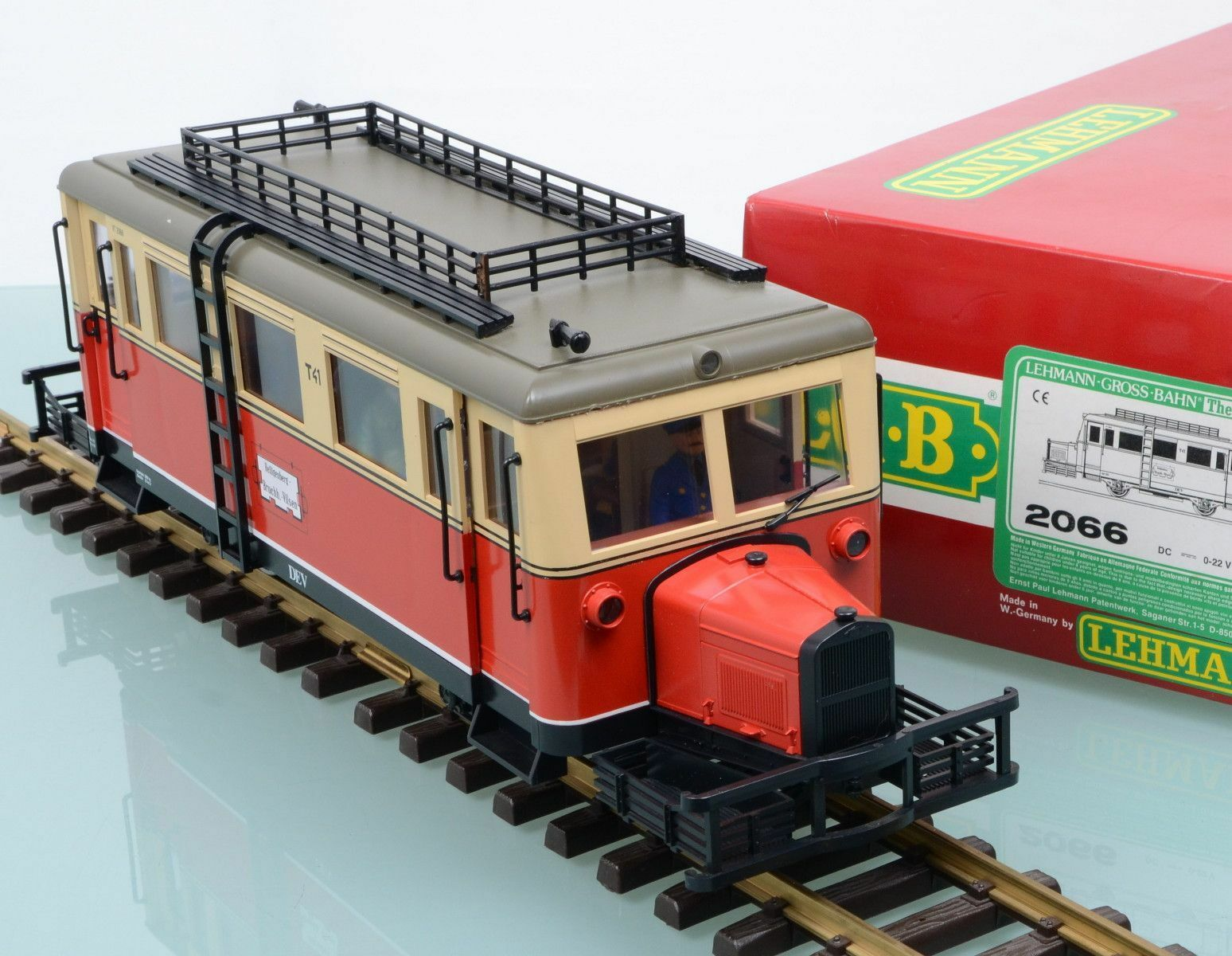 Wismar carril bus LGB 2066 Locomotora hocico de cerdo de Metal Con Luces Escala G
