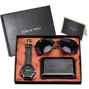 Modern Gift Set Men's Quartz Wrist Watch Leather Band With Sunglass Credit Case