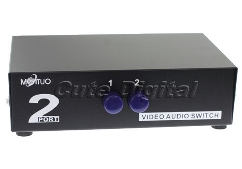 2 Input 1 Output 2 Ports Way Video Audio RCA AV Selector Splitter Switch Box NEW