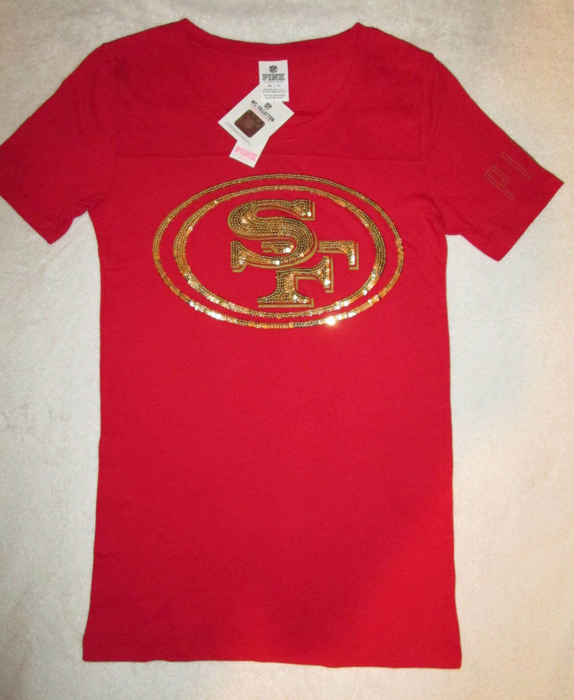 Victoria's Secret Rosa Bling San Francisco 49ers Crew Neck Tshirt XS NWT