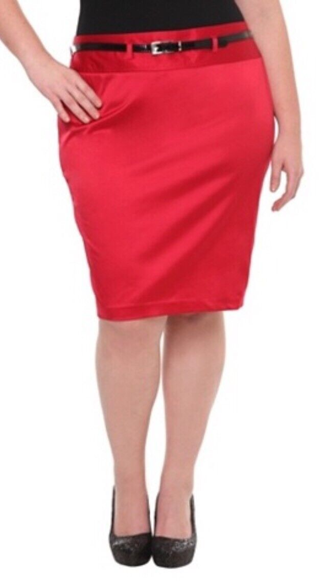 New Retro Vintage Pinup Torrid Red Sateen Belted Pencil Skirt 24W