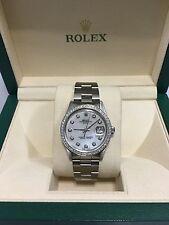 Rolex mens White Mop Dimond Dial & Diamond  Bezel 34mm Date  automatic watch