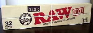 Raw-Classic-Natural-Unrefined-1-1-4-Pre-Rolled-Rolling-Paper-Cones-32-Count-NEW