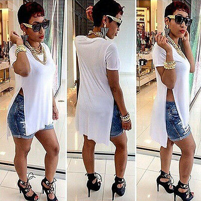 Women Sexy Casual Side High Slits Tee Long Top Maxi Dress T-shirt Tops Blouse