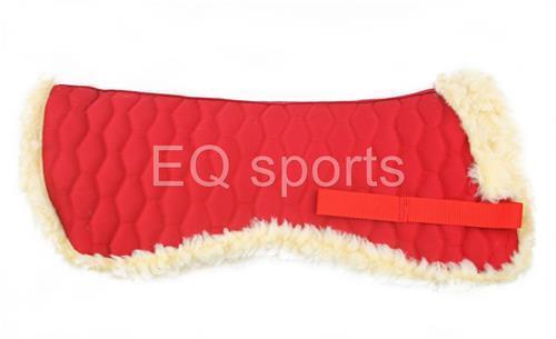 Luxurious Half Saddle Pad Numnah Faux Sheepskin Fleece Full Size Red!!