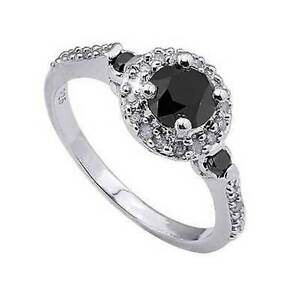 Genuine-Black-and-White-Diamond-Ring-14k-White-Gold-over-925-SS-Size-7-Gift-Box