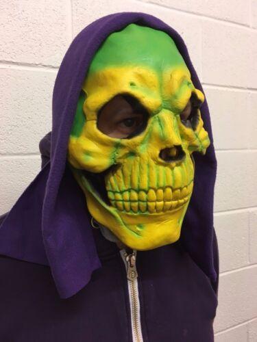 Neon Giallo e Verde Maschera da Scheletro con Cappuccio Skeletor