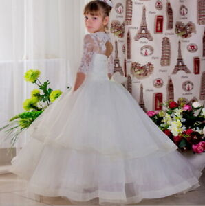 Flower Girls Princess Dress Kids Pageant Party Dance Wedding Birthday Ball Gown