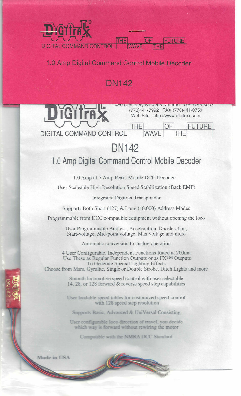 Digitrax DN142 1.0 Amp DC Mobile Decoder for N and small HO Locos