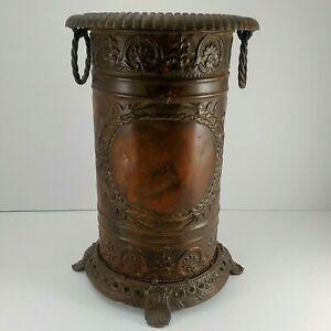 Antique/Vintage Umbrella/Cane\Stand Repousse Metal Decoration