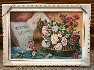 Flowers-vase-music-still-life-vintage-framed-oil-painting-on-canvas-14x10-inch