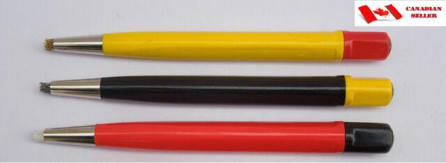 Set of 3 Scratch brush brass steel fiberglass watch repair rust clean tool ST697