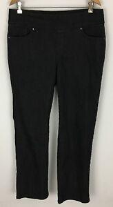 Denim-amp-Co-Black-Regular-Perfect-Denim-Smooth-Waist-Straight-Leg-Jeans-Size-14