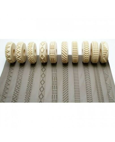 10 pcs. Rélyéf set of embossed lines Pottery texturing ceramic clay rollers