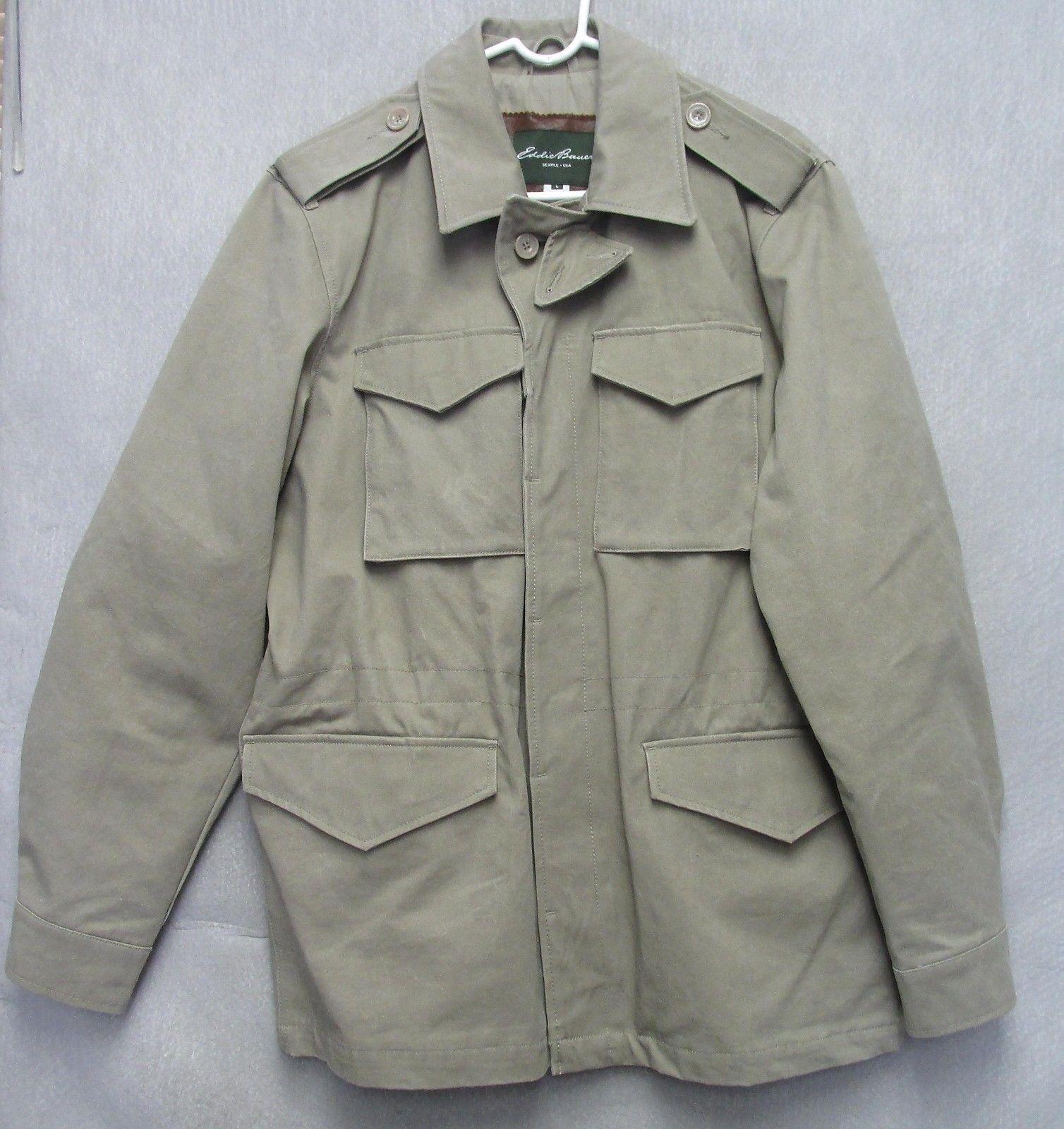 S1164 Eddie Bauer Grau Sportsman Coat Größe Large with Waist Drawstring