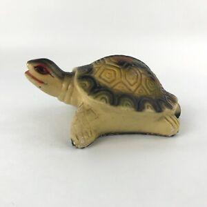 Vintage Chalkware Turtle Figurine Statue Yellow Tortoise Figure Carnival Prize