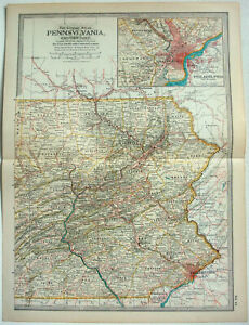 Eastern-Pennsylvania-Original-1897-Map-by-The-Century-Company-Antique-Map
