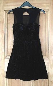 Topshop-New-Black-Velvet-Mesh-Stretchy-Skater-Dress-Sizes-6-8-10-Bnwot