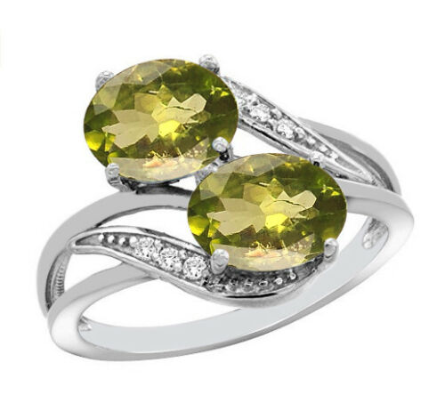 Solid 14KT White Gold 1.77CT Oval Cut Natural Peridot EGL Certified Diamond Ring