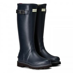 09e369a17b1 Details about Hunter Wellington Boots Wellies Womens Balmoral Poly Lined  Navy Size 8 Eu 42