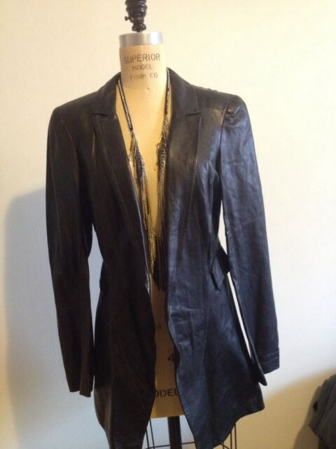 ROZAE NICHOLS Black Leather A Line Fall Jacket / Blazer Sz L
