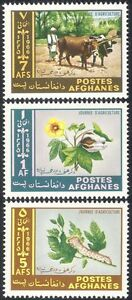Afghanistan-1966-Oxen-Caterpillar-Flower-Cattle-Insects-Animals-3v-set-n25992