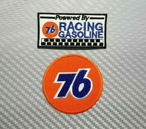 76 GASOLINE GAS OIL RACING SPORTS BIKER BADGE Embroidered Patch Iron Sew Logo