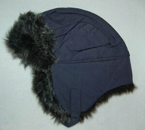 Details about Toddler Boys Trapper Hat NAVY BLUE Insulated FAUX FUR Chin  Strap WINTER Warm 4de4b7f3844