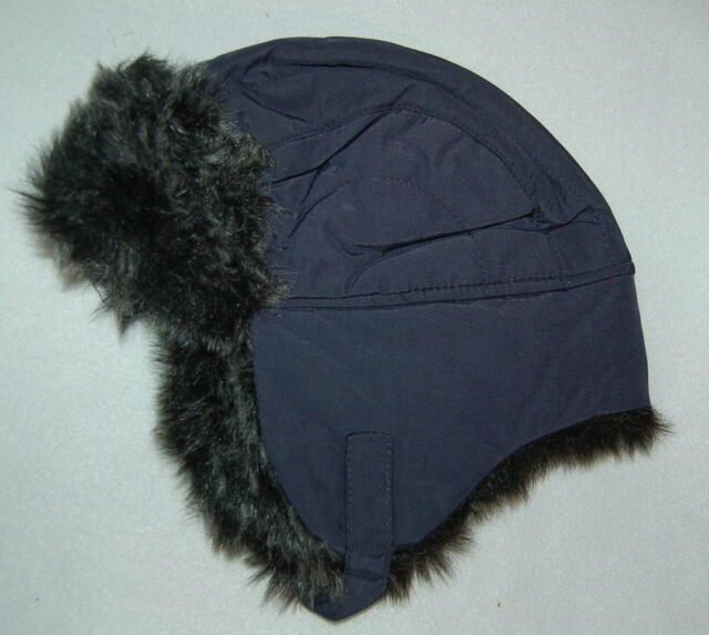 Toddler Boys Trapper Hat NAVY BLUE Insulated FAUX FUR Chin Strap WINTER Warm 0f42717d80e