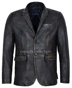 Men/'s Leather Jacket stylish Milano Classic Blazer Tan Lambskin Coat 3450