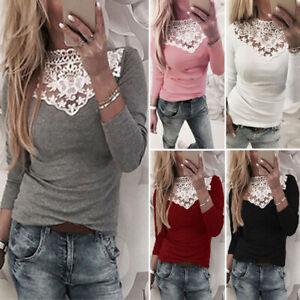 Women-039-s-Long-Sleeve-Lace-Crochet-Slim-Stretchy-Shirt-Tops-Blouse-Splice-Blouse