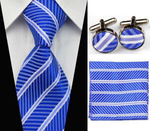100% Pura Seta Cravatta Pennelli Da Barba & Fazzoletto Set Blu & Bianco Motivo A Righe Modelli Alla Moda