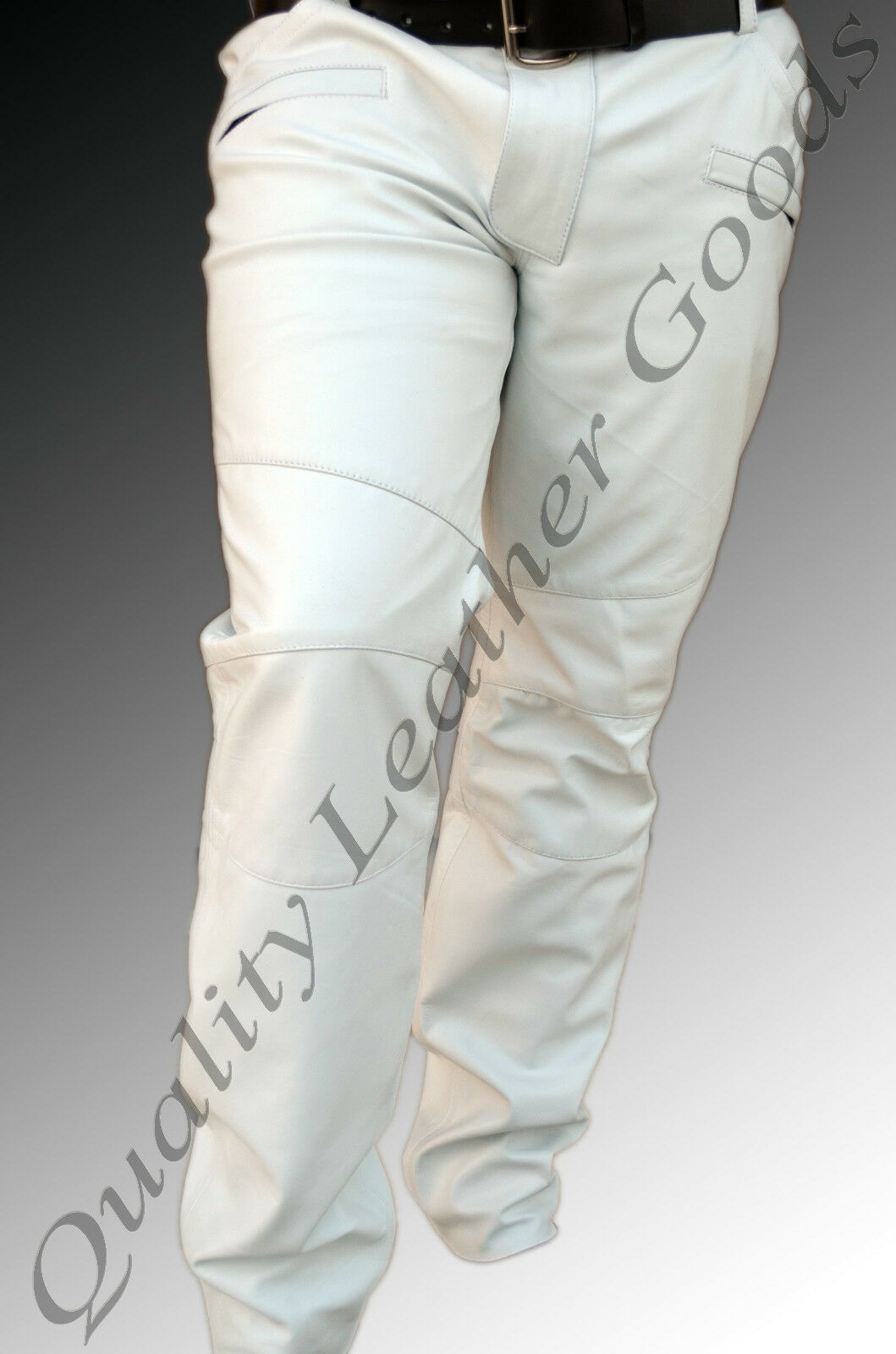 MENS SYNTHETIC LEATHER JEANS THIGH FIT  LUXURY PANTS TROUSERS WHITE blueF CLUB