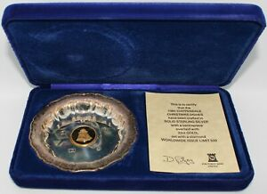 1981-Chippendale-Christmas-Dish-Solid-Sterling-Silver-Gold-amp-Diamond-KM-Coins