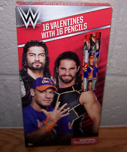 Valentines Day Cards Box 16 Wwe Wrestling John Cena With Pencils