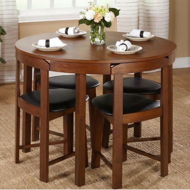 5 Piece Dining Set Round Compact Modern Space Saving Table Chairs Brown Black